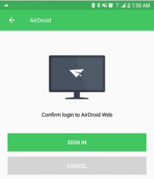 Confirm login to airdroid web - Transfer files Wirelessly between Android and PC